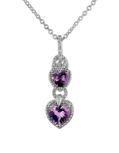 Fine Jewellery Amethyst and White Topaz Heart Drop Pendant Necklace-PURPLE-One Size