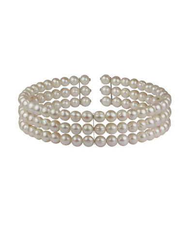 Fine Jewellery 8-9mm White Pearl Three Row Choker Necklace-WHITE-One Size
