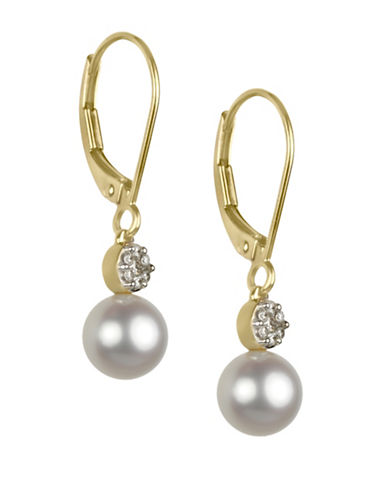 Fine Jewellery 6.5MM Freshwater Pearl and 14K Gold Drop Earrings with 0.112 TCW Diamonds-WHITE-One Size