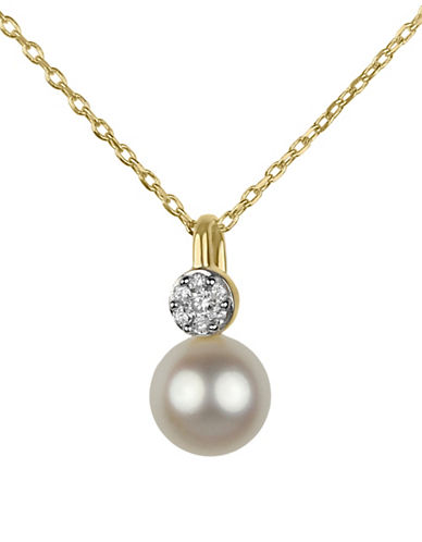 Fine Jewellery 6.5MM White Freshwater Pearl and 14K Gold Pendant Necklace with 0.056 TCW Diamonds-WHITE-One Size