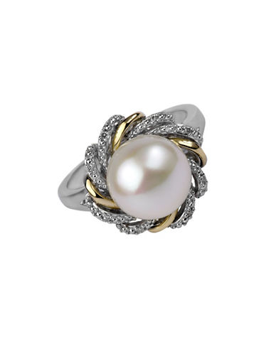 Fine Jewellery 10MM Freshwater Pearl, Sterling Silver and 14K Gold Flower Ring with 0.024 TCW Diamonds-WHITE-7