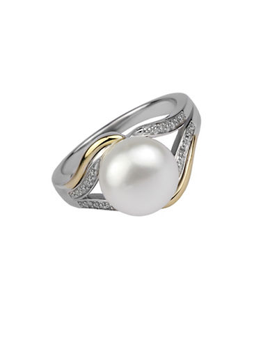 Fine Jewellery 10MM Freshwater Pearl, Sterling Silver and 14K Gold Ring with 0.024 TCW Diamonds-WHITE-7