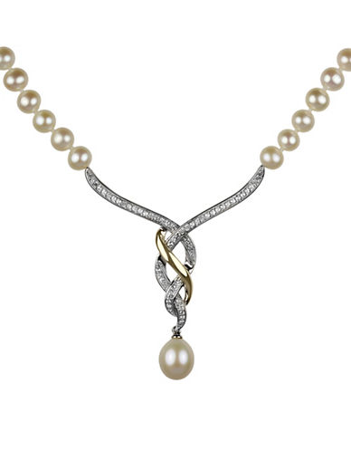 Fine Jewellery Freshwater Pearl, White Topaz, Sterling Silver and 14K Yellow Gold Necklace-PEARL-One Size