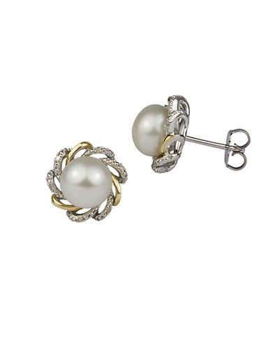 Fine Jewellery 8MM White Button Freshwater Pearl and 14K Yellow Gold Flower Stud Earrings with 0.03 TCW Diamond-WHITE-One Size
