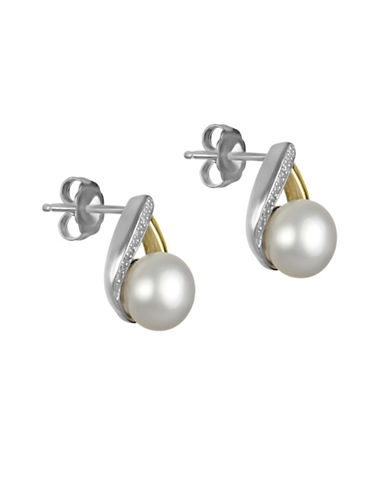 Fine Jewellery 8MM White Button Freshwater Pearl and 14K Yellow Gold Pearl Earrings with 0.06 TCW Diamonds-WHITE-One Size