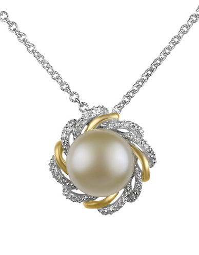 Fine Jewellery 10MM Pearl and 0.024TCW Diamond Pendant Necklace-WHITE-One Size