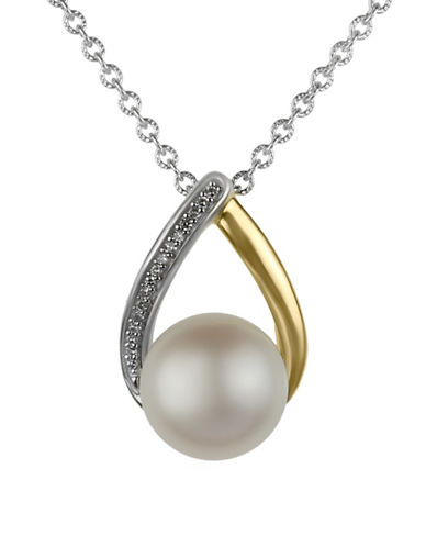 Fine Jewellery 11MM Pearl and 0.048TCW Diamond Pendant Necklace-WHITE-One Size