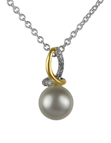 Fine Jewellery 8MM Pearl and 0.03TCW Diamond Pendant Necklace-WHITE-One Size
