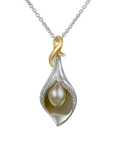 Fine Jewellery 10x7MM Pearl and White Topaz Lily Pendant Necklace-WHITE-One Size