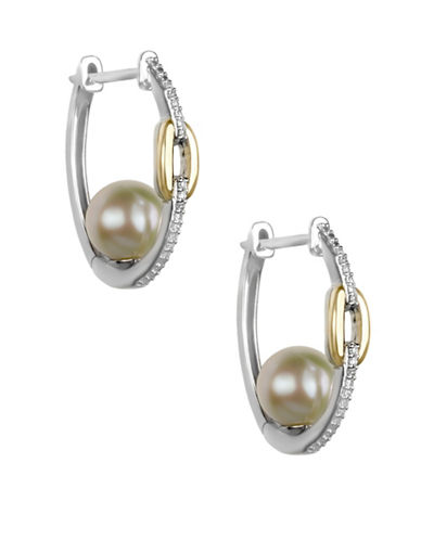 Fine Jewellery 8MM Off-White Freshwater Pearl, Diamond, Sterling Silver and 10K Yellow Gold Earrings-WHITE-One Size