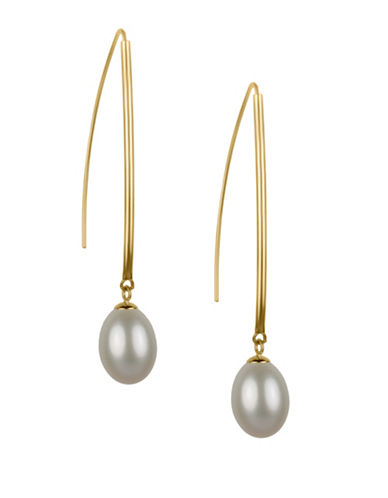 Fine Jewellery 14K Gold Pearl Threader Earrings-WHITE-One Size