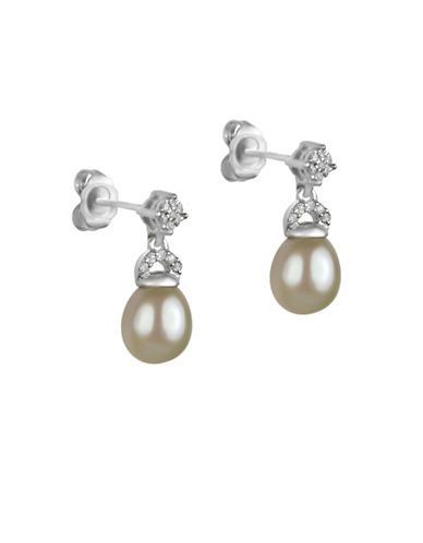 Fine Jewellery 7MM Off-White Oval Freshwater Pearl, Diamond and Sterling Silver Drop Earrings-WHITE-One Size