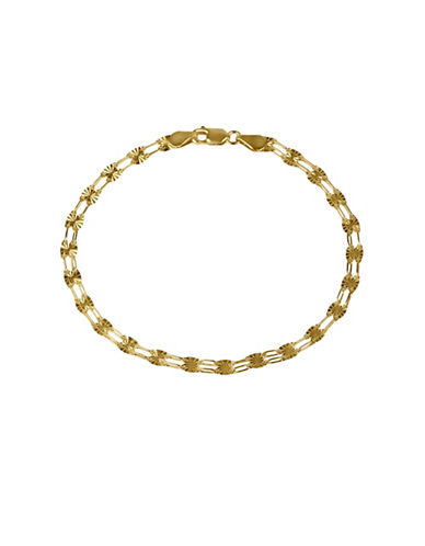 Fine Jewellery 14K Yellow Gold Sparkle Mirror Link Bracelet-GOLD-One Size