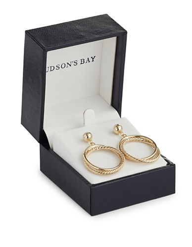 Fine Jewellery 14K Yellow Gold Interlock Drop Hoop Earrings-GOLD-One Size
