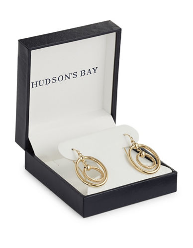 Fine Jewellery 14K Yellow Gold Oval and Round Drop Hoop Earrings-GOLD-One Size