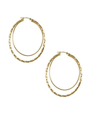 Fine Jewellery 14K Yellow Faceted Hoop Earrings-GOLD-One Size