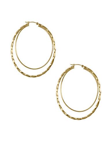 Fine Jewellery 14K Yellow Faceted Hoop Earrings-GOLD-One Size