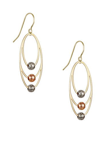 Fine Jewellery 14K Yellow Gold Triple Interlay Oval Earrings-TRI TONE-One Size