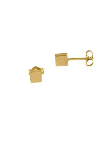 Fine Jewellery 14K Gold Cube Stud Earrings-GOLD-One Size