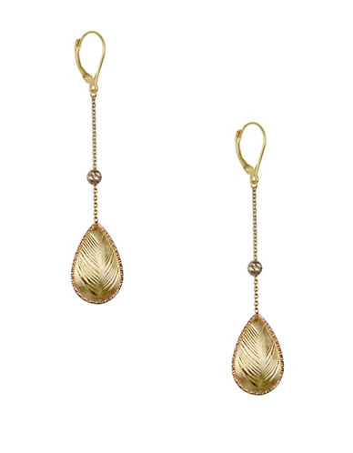 Fine Jewellery 14K Yellow and Rose Gold Teardrop Earrings-GOLD-One Size