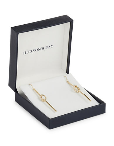Fine Jewellery 14K Yellow Gold Centre Knot Drop Earrings-GOLD-One Size