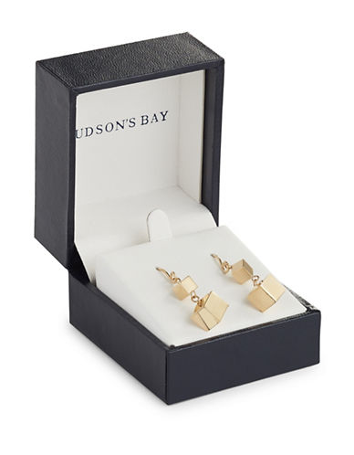 Fine Jewellery 14K Yellow Gold Double Dice Drop Earrings-GOLD-One Size
