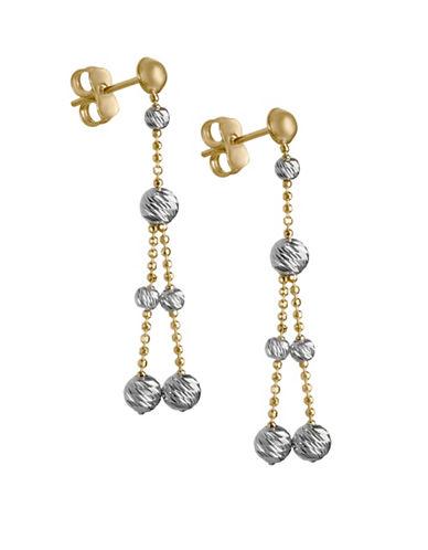 Fine Jewellery 14K PDC Multi Strand Bead Drop Earrings-TWO TONE-One Size
