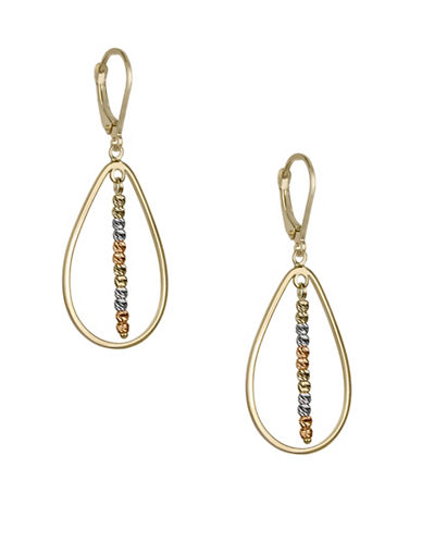 Fine Jewellery 14K Tri-Tone Beaded Teardrop Earrings-GOLD-One Size