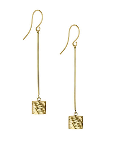 Fine Jewellery 14K Yellow Gold Barrel Drop Earrings-GOLD-One Size