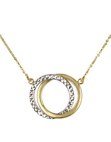 Fine Jewellery 14K Gold Interlock Circles Pendant Necklace-TWO TONE-One Size
