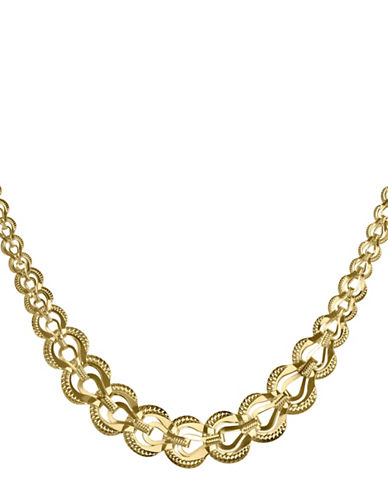 Fine Jewellery 14K Yellow Gold Polished Graduating Folder Links Necklace-GOLD-One Size