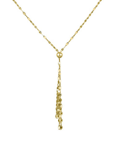 Fine Jewellery 14K Yellow Gold Flat Links Tassel Necklace-GOLD-One Size