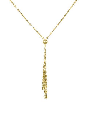 14 K Yellow Gold Flat Links Tassel Necklace by Fine Jewellery