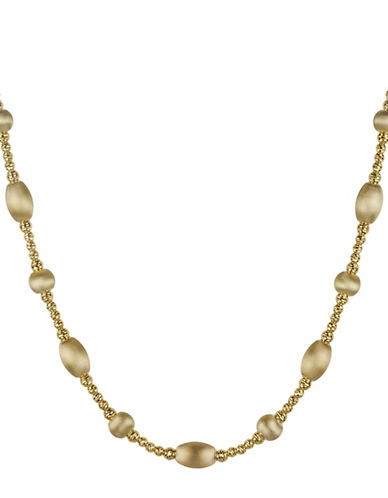 Fine Jewellery 14K Yellow Gold Satin Oval Beaded Necklace-GOLD-One Size