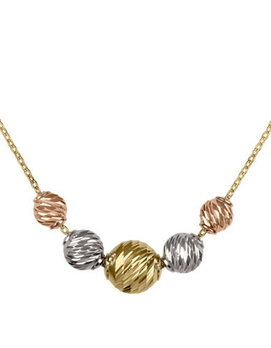 Fine Jewellery 14K PDC Tri-Color Graduating Beads On Chain Necklace-TRI TONE-One Size