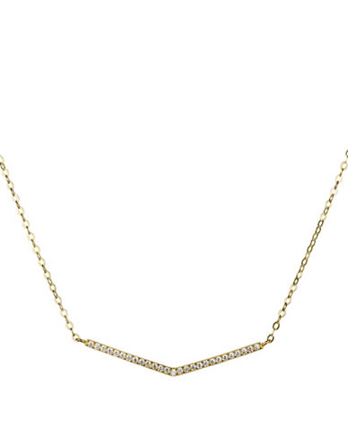 Fine Jewellery 14K Yellow Gold Pave Arrow Pendant Necklace-GOLD-One Size