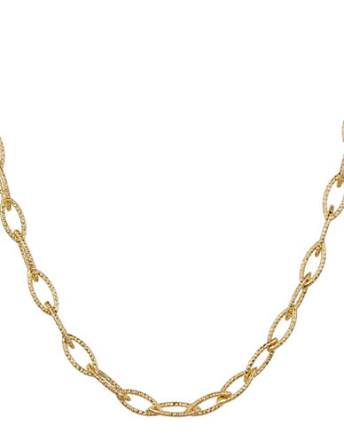 Fine Jewellery 14K Yellow Gold PDC Oval Textured Links Necklace-GOLD-One Size