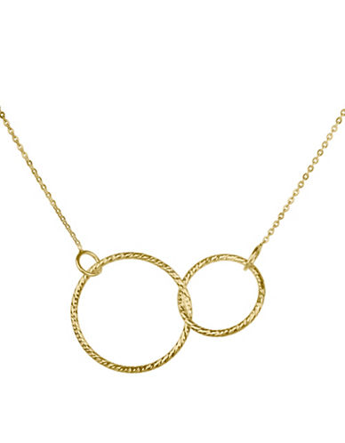 Fine Jewellery 14K Yellow Gold PDC Interlock Circles Pendant Necklace-GOLD-One Size