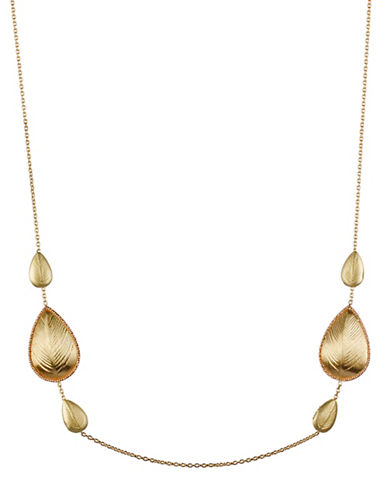 Fine Jewellery Teardrop Station Necklace-GOLD-One Size