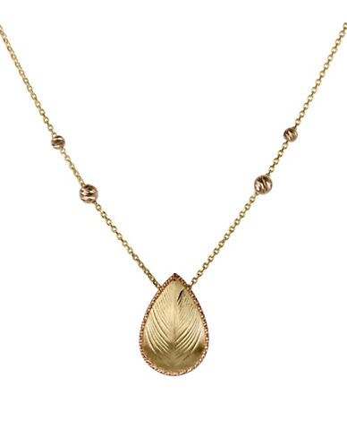 Fine Jewellery 14K Gold Teardrop Necklace-GOLD-One Size