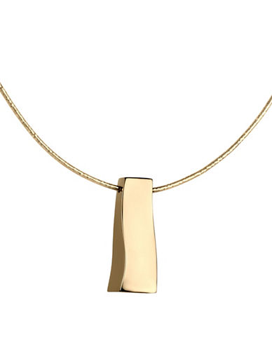 Fine Jewellery 14K Yellow Gold Polished Rectangular Drop Chain Necklace-GOLD-One Size