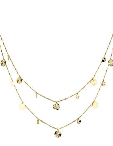 Fine Jewellery 14K Yellow Gold Multi Strand Disks Layered Pendant Necklace-GOLD-One Size