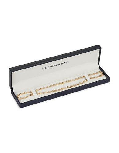 Fine Jewellery 14K Yellow Gold Beaded Station Necklace-GOLD-One Size
