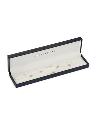 Fine Jewellery 14K Yellow Gold Dice Station Necklace-GOLD-One Size