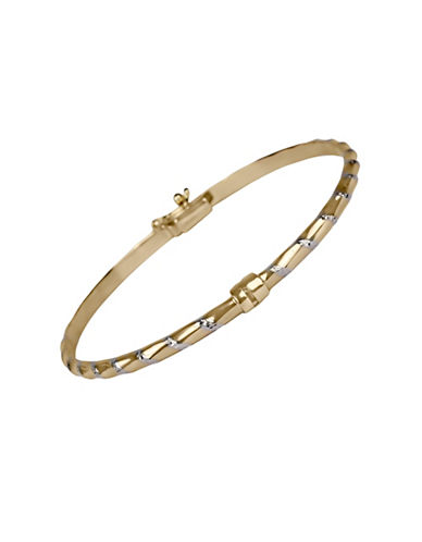 Fine Jewellery 14K Yellow Gold Bamboo Design Bangle-GOLD-One Size