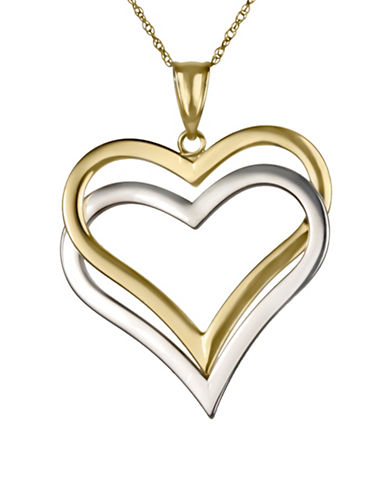 Fine Jewellery 14K Yellow and White Gold Overlapping Heart Pendant Necklace-TWO TONE-One Size