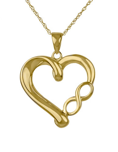 Fine Jewellery 14K Yellow Gold Infinity Symbol Heart Pendant Necklace-GOLD-One Size