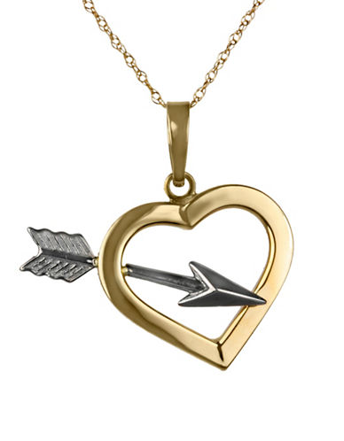 Fine Jewellery 14Kt Two-Tone Heart and Arrow Pendant Necklace-TWO-TONE-One Size