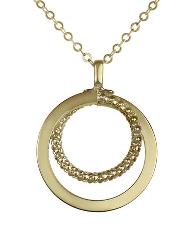 Fine Jewellery 14K Double Circle Popcorn Textured Pendant Necklace-GOLD-One Size
