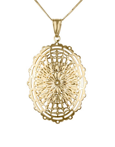 Fine Jewellery 14K Yellow Gold Oval Geometric Flower Design Pendant Necklace-GOLD-One Size